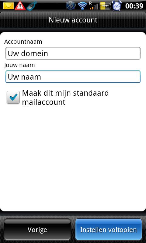 naam en email en standaard